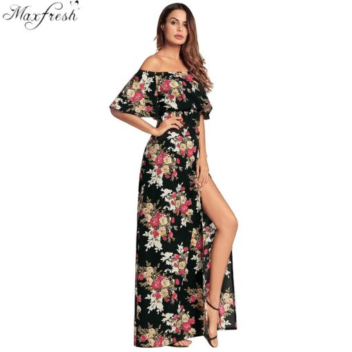Lossky Sexy Off Shoulder Floral Summer Long Dress Women 2018 Split Boho Cotton Beach Elegant Ladies Wrap Flower Maxi Dresses Exquisite Traditional Embroidery Art Women's Clothing